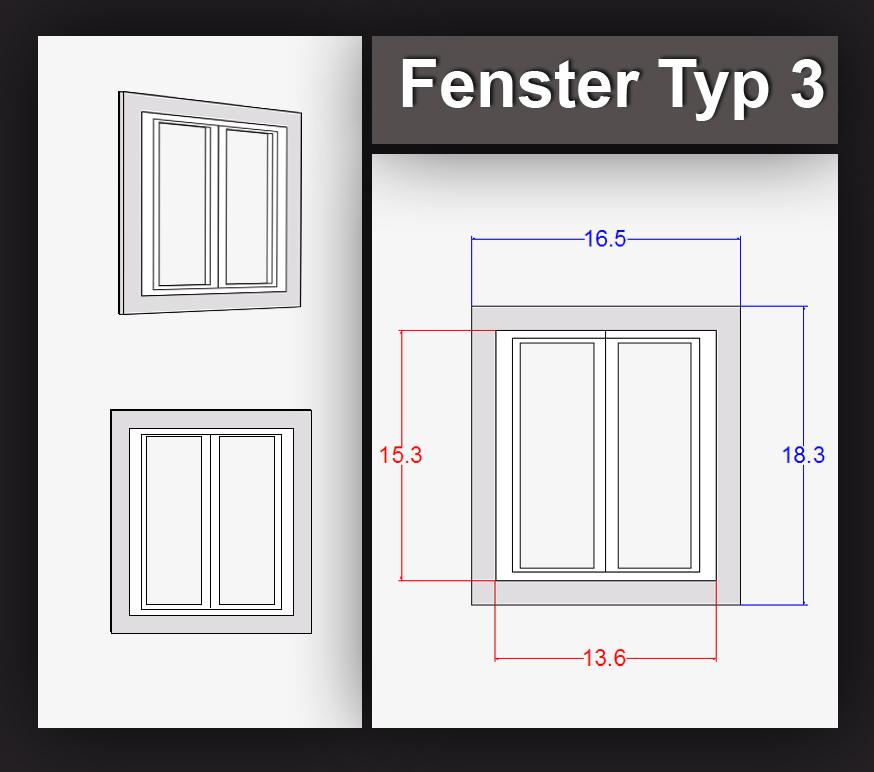 Spurweite H0 : H0: Fenster Typ 3